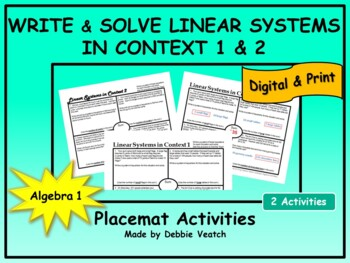Solve Linear Systems In Context 1 & 2 (2 similar items & 2 deals) Placemats