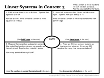 Solve Linear Systems In Context 3 & 4 (age & mixture/percent problems) Placemats