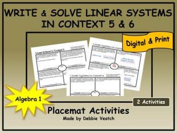 Solve Linear Systems In Context 5 & 6 (find price & geometry problems) Placemats