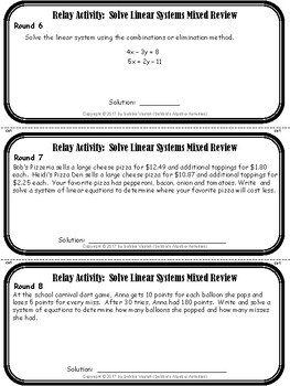 Solve Linear Systems Mixed Review Relay Activity