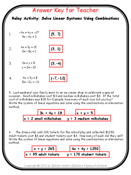 Solve Linear Systems Using Combinations Relay Activity