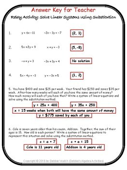 Solve Linear Systems Using Substitution Relay Activity