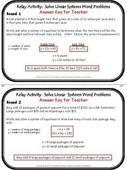 Solve Linear Systems Word Problems Relay Activity