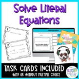 Solve Literal Equations Task Cards and Scramble Puzzle Pixel Art