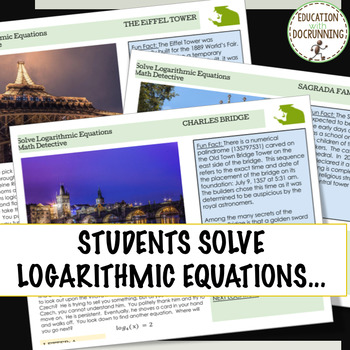 Solve Logarithmic Equations Digital Math Detective Activity for Google Drive