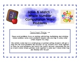 Solve & Match - Whole Number Computation Word Problems