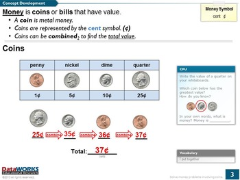 Solve Money Problems involving Coins