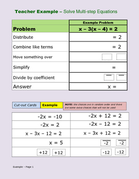 Solve Multi-Step Equations Card Activity