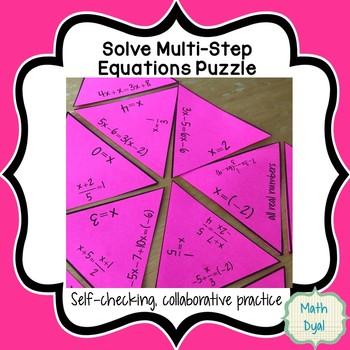 Solve Multi-Step Equations Puzzle