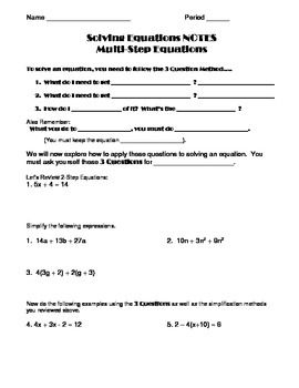 Solve Multi-Step Equations and Inequalities Notes and Worksheet