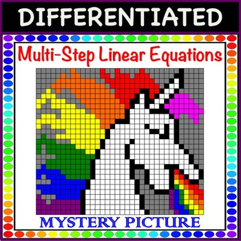 Solve Multi-Step Linear Equations Differentiated Mystery Picture Color!