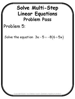 Solve Multi-Step Linear Equations Problem Pass Activity