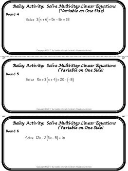 Solve Multi-Step Linear Equations (Variable on One Side) Relay Activity