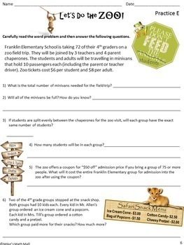 Multi-Step Word Problems - CCSS 4.OA.A.3