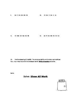 Solve Multistep Equations Notes and Exit Ticket