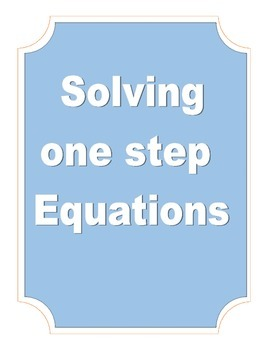 Solve One Step Equations