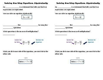 Solve One-Step Equations Algebraically Notes and Practice