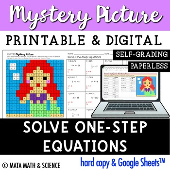 Solve One-Step Equations: Mystery Picture (Princess)