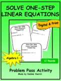 Solve One-Step Linear Equations Problem Pass Activity