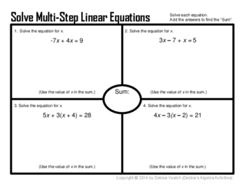 Solve One-Step, Two-Step & Multi-Step Linear Equations Placemats