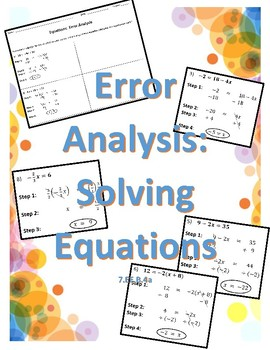 Solve One & Two Step Equations:  Error Analysis