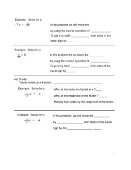 1 Solve One and Two Step Equations Guided Notes Lesson Plan
