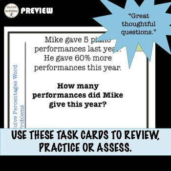Percent Activity Word Problems Task Cards (7.RP.A.3.)