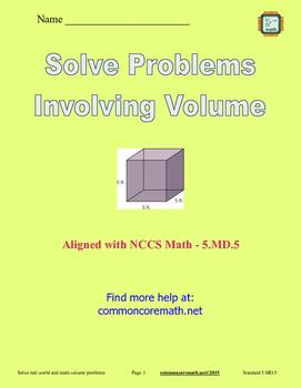 Solve Problems Involving Volume - 5.MD.5