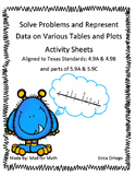 Solve Problems with Data from Tables and Plots Activity Sheets 4.9A 4.9B