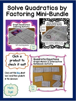 Solve Quadratic Equations by Factoring Mini Bundle