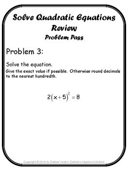 Solve Quadratic Equations Review Problem Pass Activity