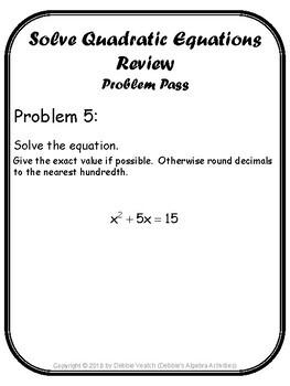 Solve Quadratic Equations Review Problem Pass Activity