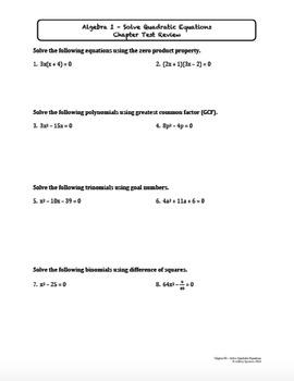 Solve Quadratic Equations Test