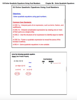 Solve Quadratic Equations Using Goal Numbers (Lesson with Homework)