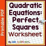 Solve Quadratic Equations Using Square Roots Worksheet