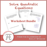 Solve Quadratic Equations Worksheet Bundle