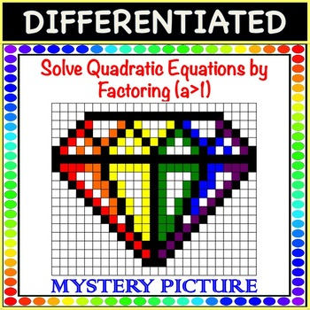 Solve Quadratic Equations by Factoring a>1 Differentiated Mystery Picture Color!