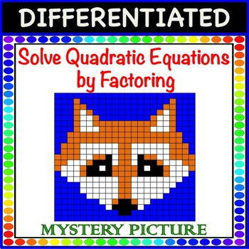 Solve Quadratic Equations by Factoring a=1 Differentiated Mystery Picture Color!