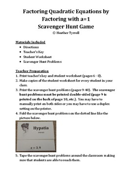 Solve Quadratic Equations by Factoring with a=1 Scavenger Hunt Game