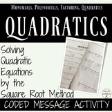 Solve Quadratic Equations by Square Root Method Coded Message Activity