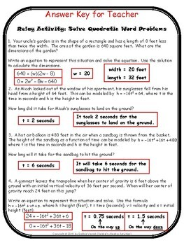 Solve Quadratic Word Problems Relay Activity