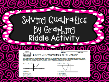 Solve Quadratics By Graphing Riddle Activity