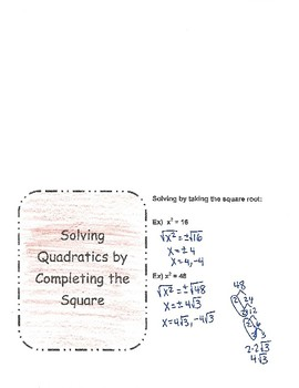 Solve Quadratics by Completing the Square
