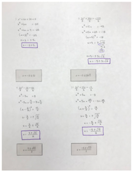 Solve Quadratics by Completing the Square Cut and Paste Activity