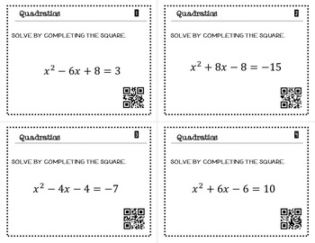 Solve Quadratics by Completing the Square Task Cards