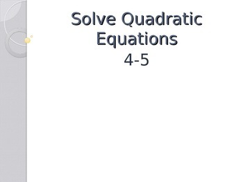 Solve Quadratics by Graphing and Factoring