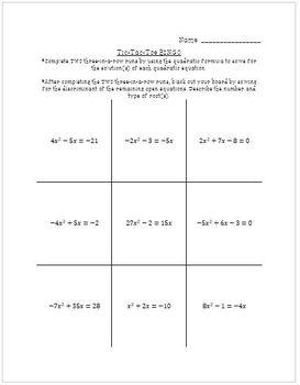 Solve Quadratics by Quadratics Formula Tic-Tac-Toe BINGO Worksheet