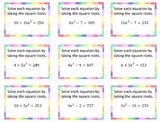 Solve Quadratics by Square Roots Triples Activity