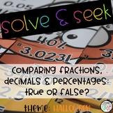 Solve & Seek Comparing Fractions, Decimals & Percentages - True or False?