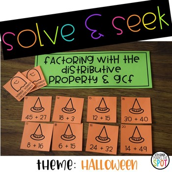 Solve & Seek The Distributive Property and the GCF {Halloween}